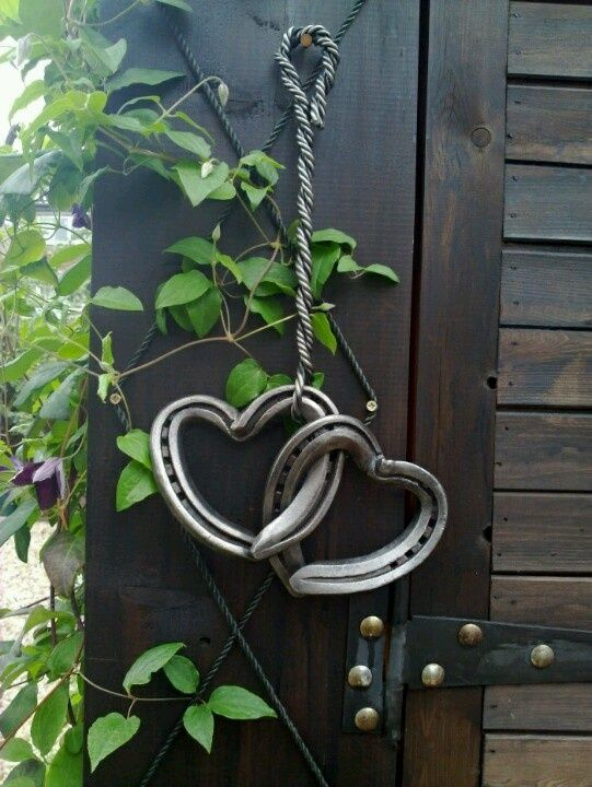 Horseshoes made into hearts outdoor art Valentine's Day gift for man western cowboy Drawings | horseshoe art | horseshoe art