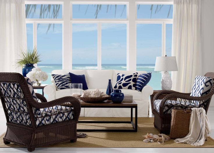 Etonnant Coastal Living Rooms Ideas With Wicker Chairs And White Sofa Include  Pillows Also Wooden Table On The Carpet Thursday, PM, January 2017 Awesome  Coastal ...
