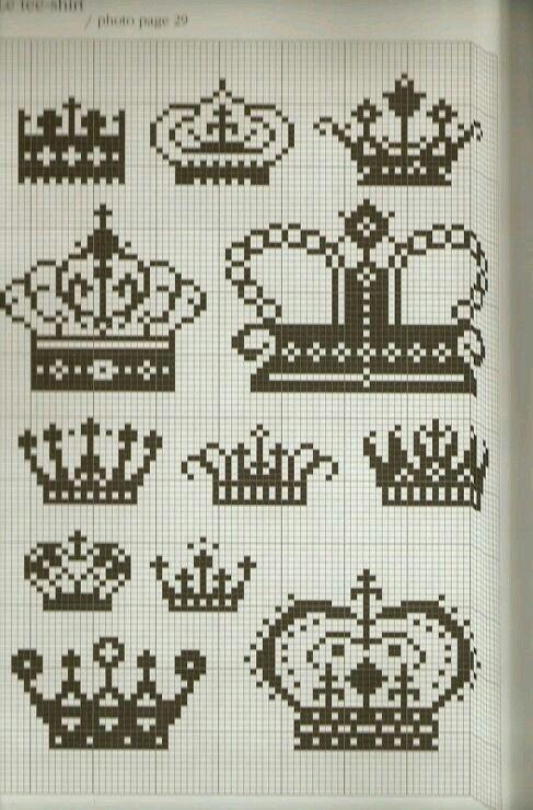 Different crowns cross stitch patterns.