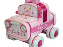 "♦♦ Windelauto ""Polizei"" in rosa ♦♦"