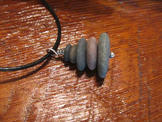 Lake Superior Pebbles Granite Stone, Sterling Silver & Black Leather Pendant Necklace-Toniraecreations $24