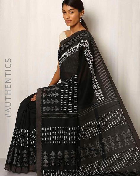 Buy Black Indie Picks Patri Print Chanderi Saree with Ghicha Border | AJIO