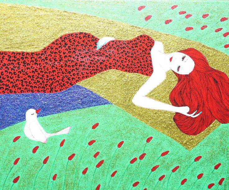 Rest-친구되기, Acrylic on canvas, 45.5x37.9cm, 2013, by 김미숙 / 아트뮤제갤러리