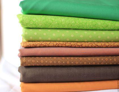 Шитье ручной работы. Ярмарка Мастеров - ручная работа. Купить Набор тканей Зеленый-Коричневый. Handmade. Ткань для рукоделия, ткань 260р. 25х25