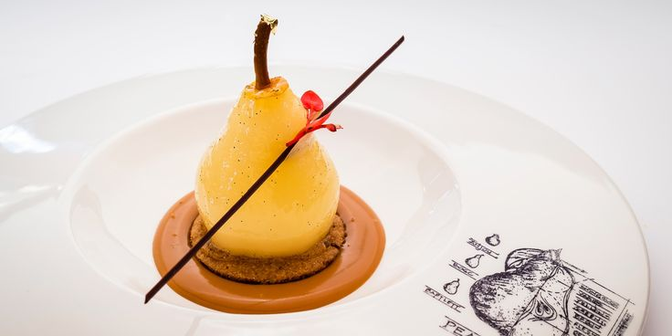 Xavier Boyer's autumnal dessert is infused with spice and vanilla, with soft poached pears sitting atop a cinnamon biscuit base and rich caramel sauce.