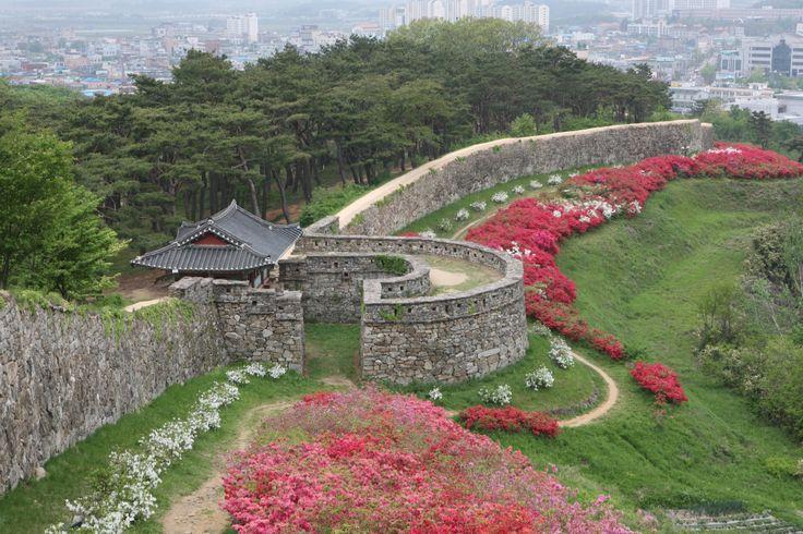 화사한 봄 꽃에 둘러싸인 읍성에서 즐기는 고창읍성 답성놀이