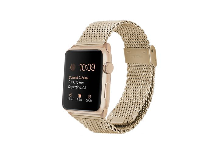 * Color: Gold * Band Material: Stainless Steel * Adapter Material: Stainless steel * Length: Based on Apple Watch of your choice (size chart) * *Compatible: 38mm or 42mm of Apple Watch Sport, Apple Watch, Apple Watch Edition * *Adaptor finish: Gold * Options will be selected during check out