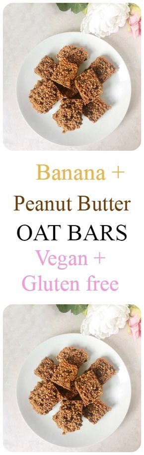 Banana and Peanut Butter Oat Bars Recipe #vegan #glutenfree #healthy #recipe #breakfast #snack #dessert #banana #peanutbutter #oat #bar #flapjack #heealthy