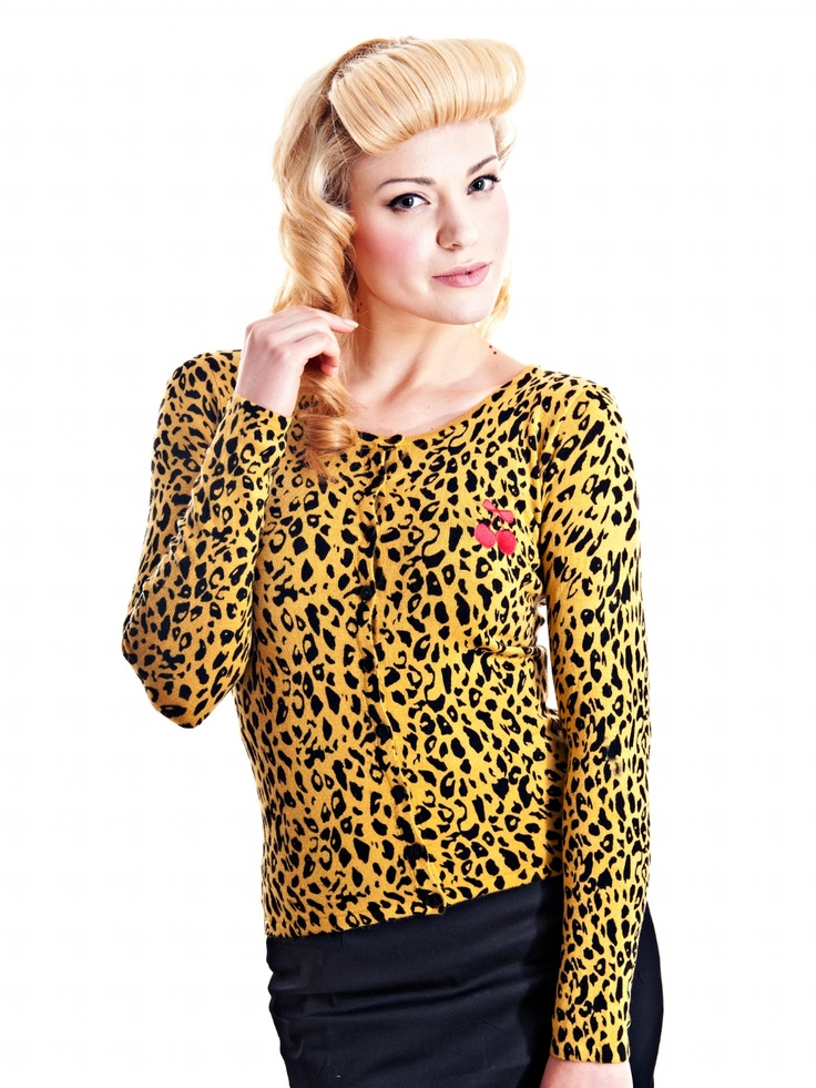 Rocky Leo Cardie Cherry Embroidery Leo Cardigan Knitwear Vintage Style Clothing Rockabilly | Punk | Pin-up | Psychobilly | Retro Clothing at Collectif