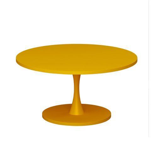 Mesa de Centro Redonda Bely Amarelo em MDF - Uvim - Luzstore