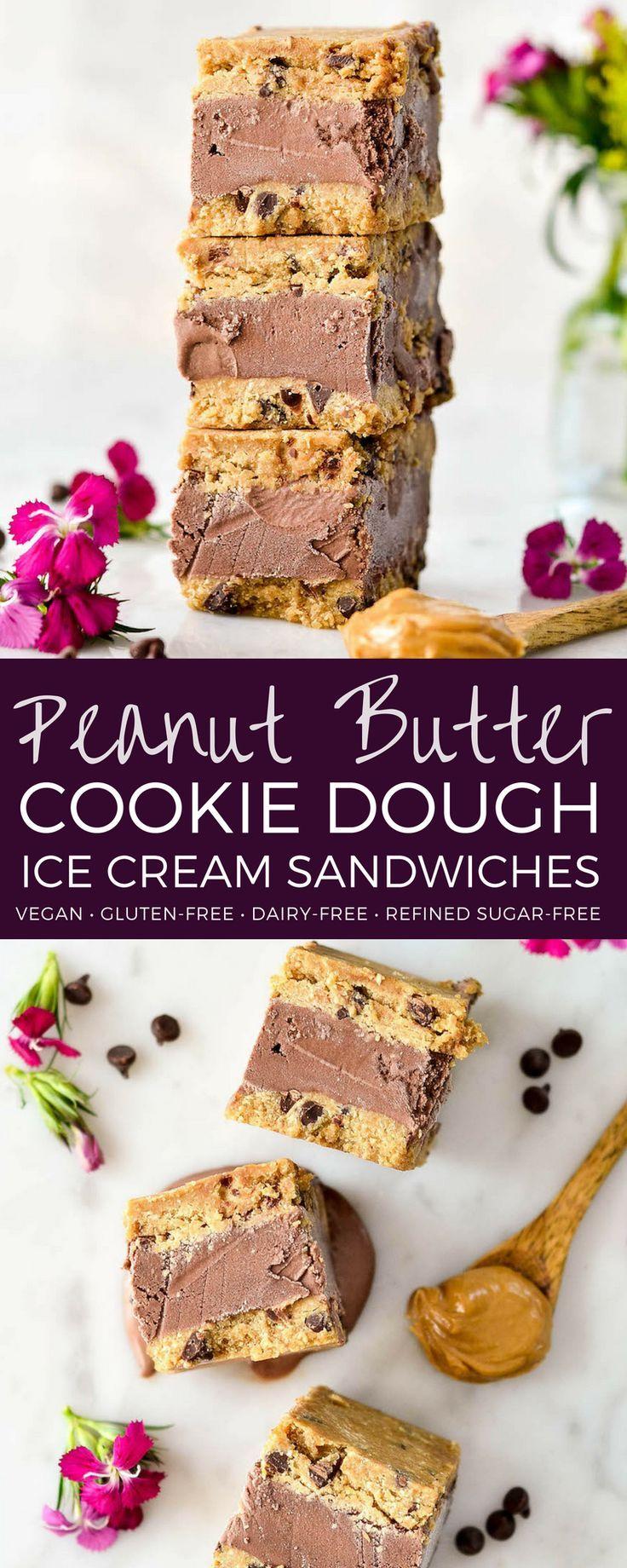 Vegan & Gluten-Free Peanut Butter Cookie Dough Ice Cream Sandwiches are a health… – Summer Recipes