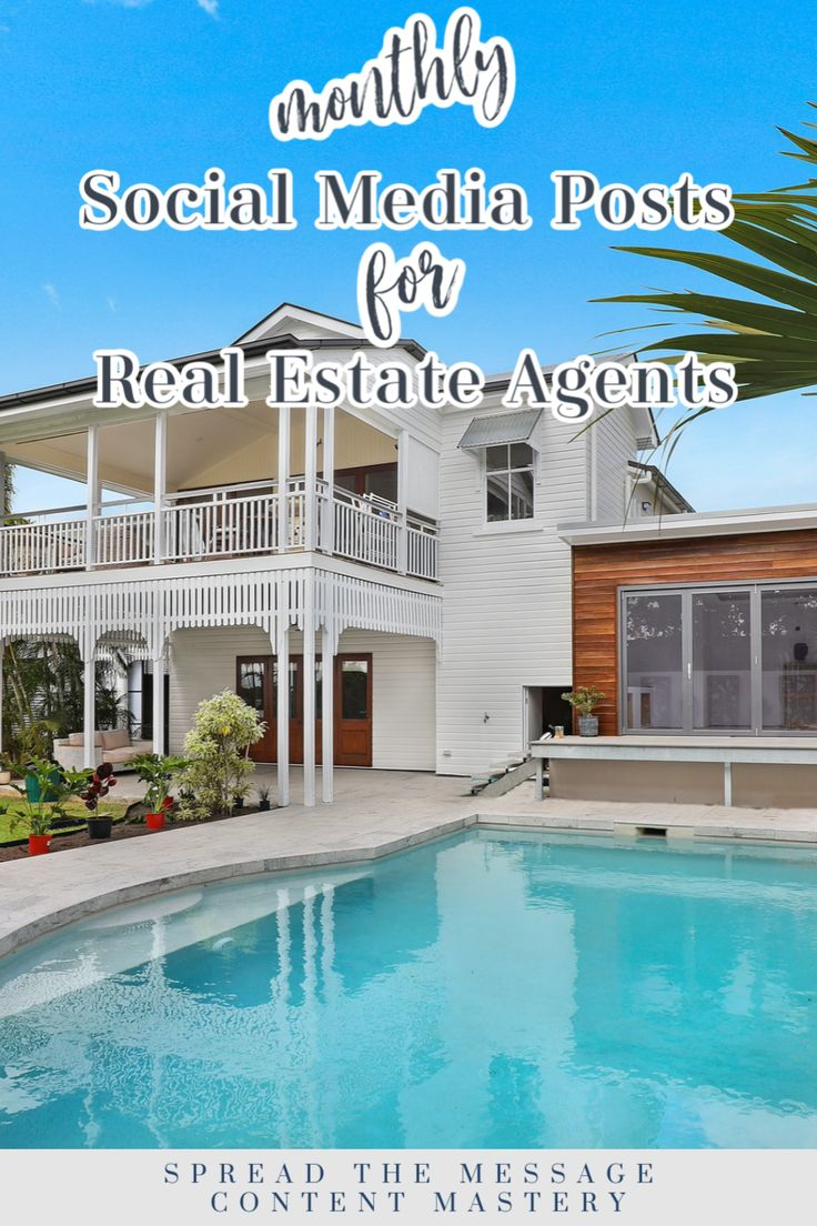 Monthly Posts For Real Estate Agents Real Estate Agent Real Estate Realtor Social Media