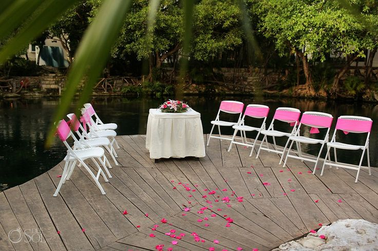 Ceremony set-up beside a sacred cenote in @Sandos Caracol Eco Experience Resort resort in the Riviera Maya. Mexico wedding photographers Del Sol Photography.