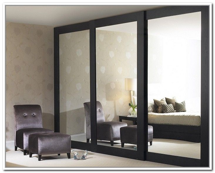 wood framed mirror sliding closet doors 2