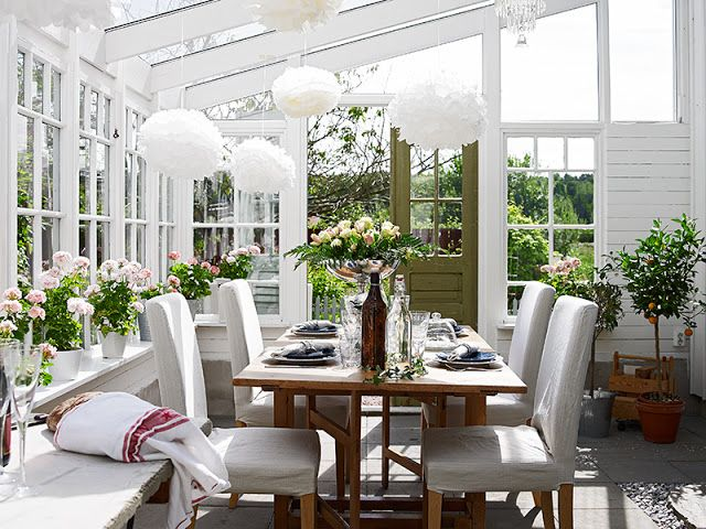 Atrium Dining Room Gl Ceiling And Windows Cottage White Reclaimed Wood Table Www Yournestdesign