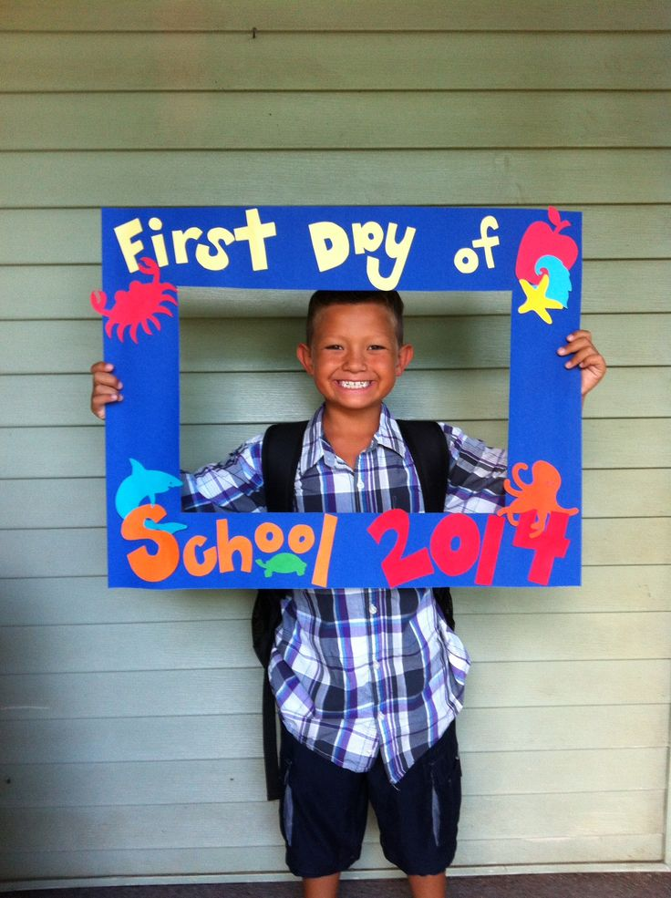 Its always fun to make a frame for the kids to hold and take a picture with! I usually write on the frame 1st day of 1st grade, but this year since I don't have a class I thought I better make a generic one and it was fun that others were able to use it as well! Super Easy to do, I just used a poster board and duck-taped cardboard strips on the back to make it more sturdy. Then I used pre-cut decals, that fit with Hawaii and School!
