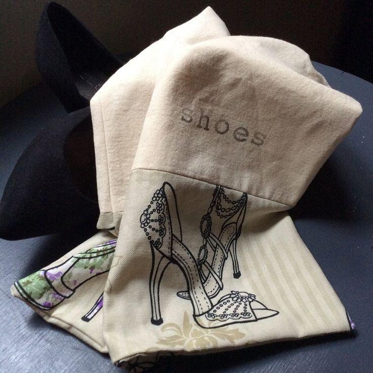Shoe Bag - Ivory Canvas/Shoe Print C$25