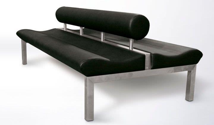 Sofá moderno / de acero inoxidable / de cuero / para edificio público CURL CURL…