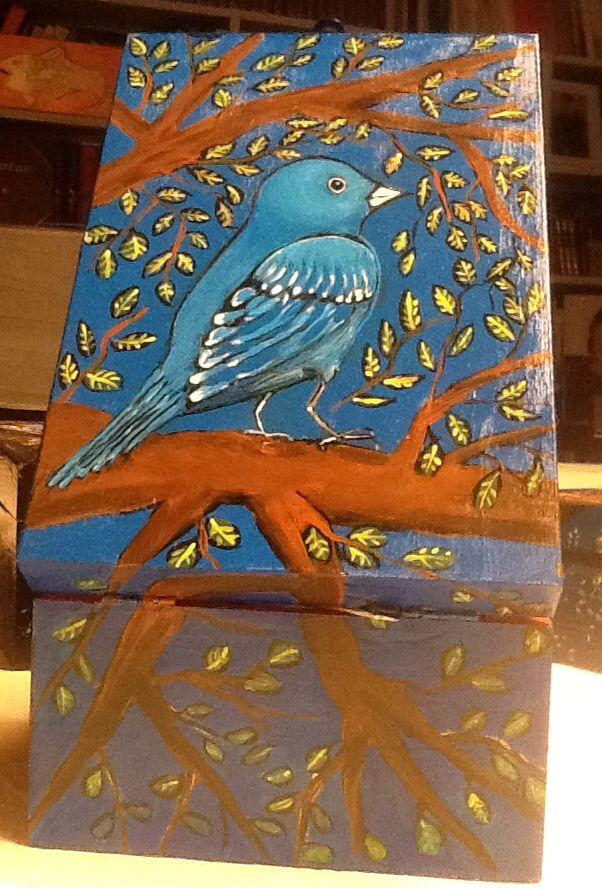 Oiseaux peinture acrylique sur bo te en bois boites - Peinture acrylique sur bois ...