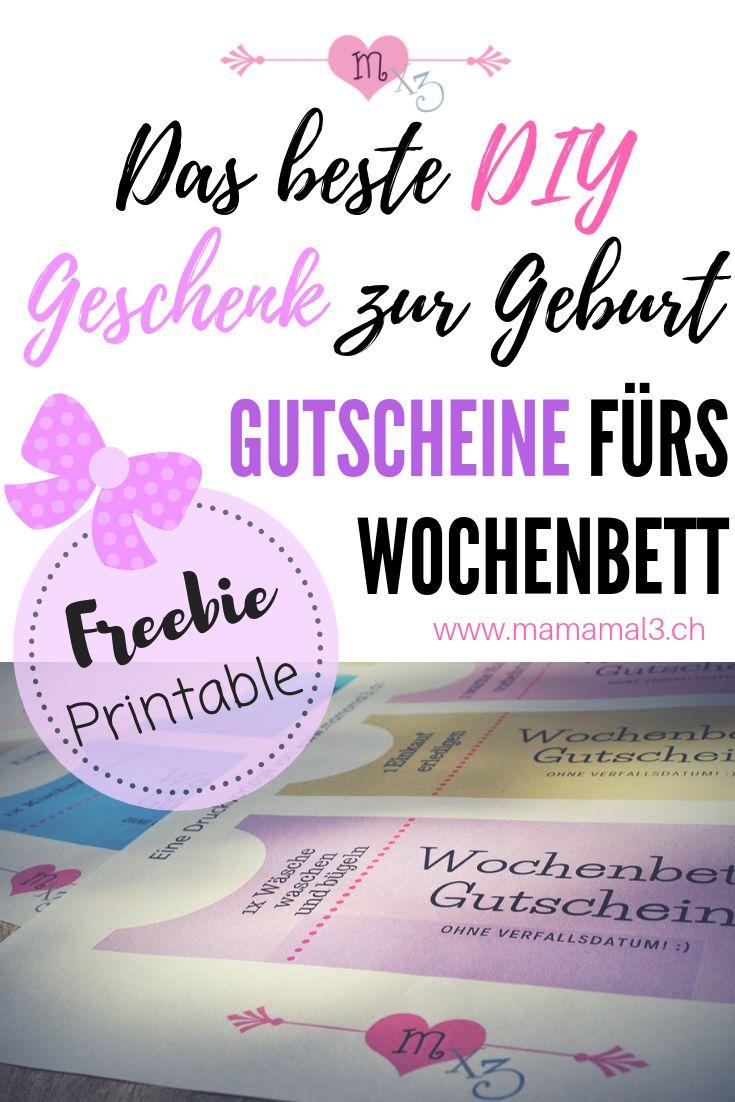 DIY Wochenbett-Gutscheine als Geschenk zur Geburt (Freebie – Printable)