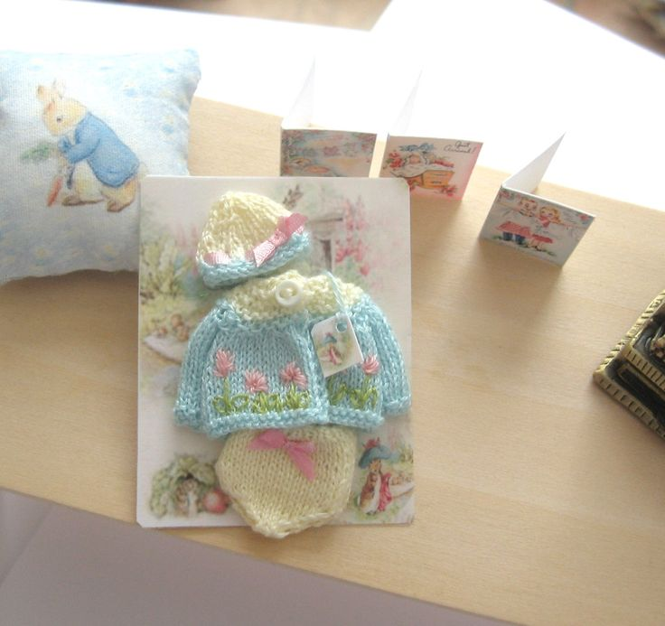 dollhouse knitted baby doll cardigan hat pants set 12th scale miniature by Rainbowminiatures on Etsy