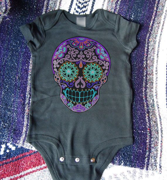 Purple Skull Romper Toddler Sugar Onesie Trendy