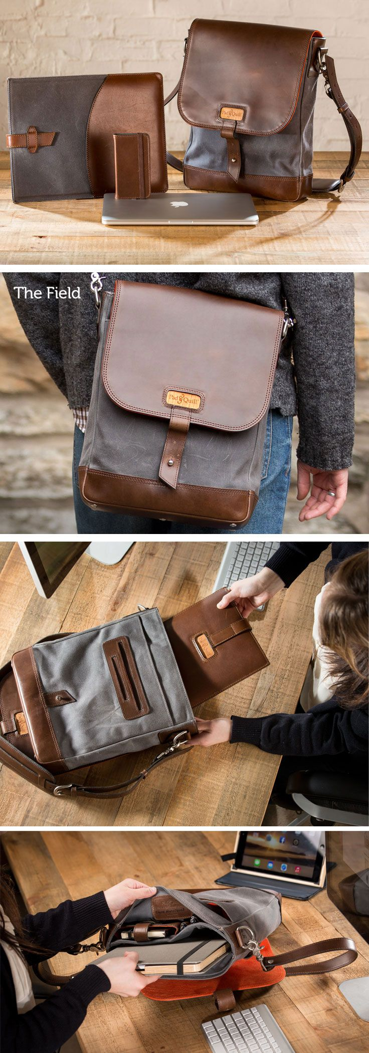 The Pad & Quill Field Bag is a vertical design that has tons of pockets for all your gear. Amazing storage with such slim luxury. Handmade with custom American hide full grain leathers, 24 oz luxury twill waxed canvas and nylon UV resistant stitching thats used to sew parachutes. Yep...parachutes. Every Bag has a cherry wood panel with our mark laser etched in the center and inside you'll find a signature.  - See more at: http://www.padandquill.com/leather-bags/the-field-bag.html