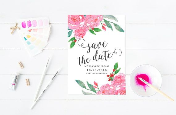 Watercolor Save The Date Pink Watercolor Wash by MooseberryPaperCo