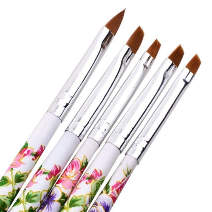5 Pieces DIY Professional Nail Tools Nail Art Flower Design Painting Tool Pen Polish Brush Set Kit Nail Brushes Tools