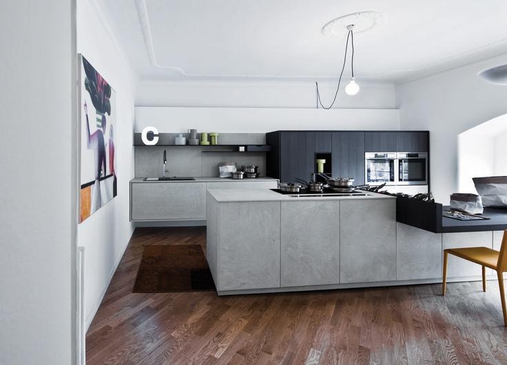 #Kalea in eco cemento abbinato al rovere taglio di sega. Kalea in eco cement combined with rough oak. #Cesar #Cucine #Kitchens