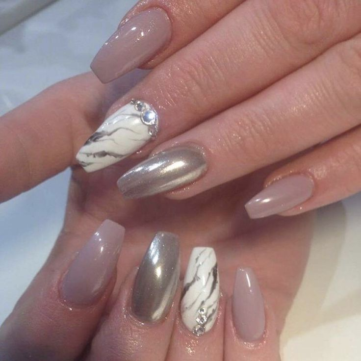 Nude Chrome Amp Marble Nails Pinterest Chrome