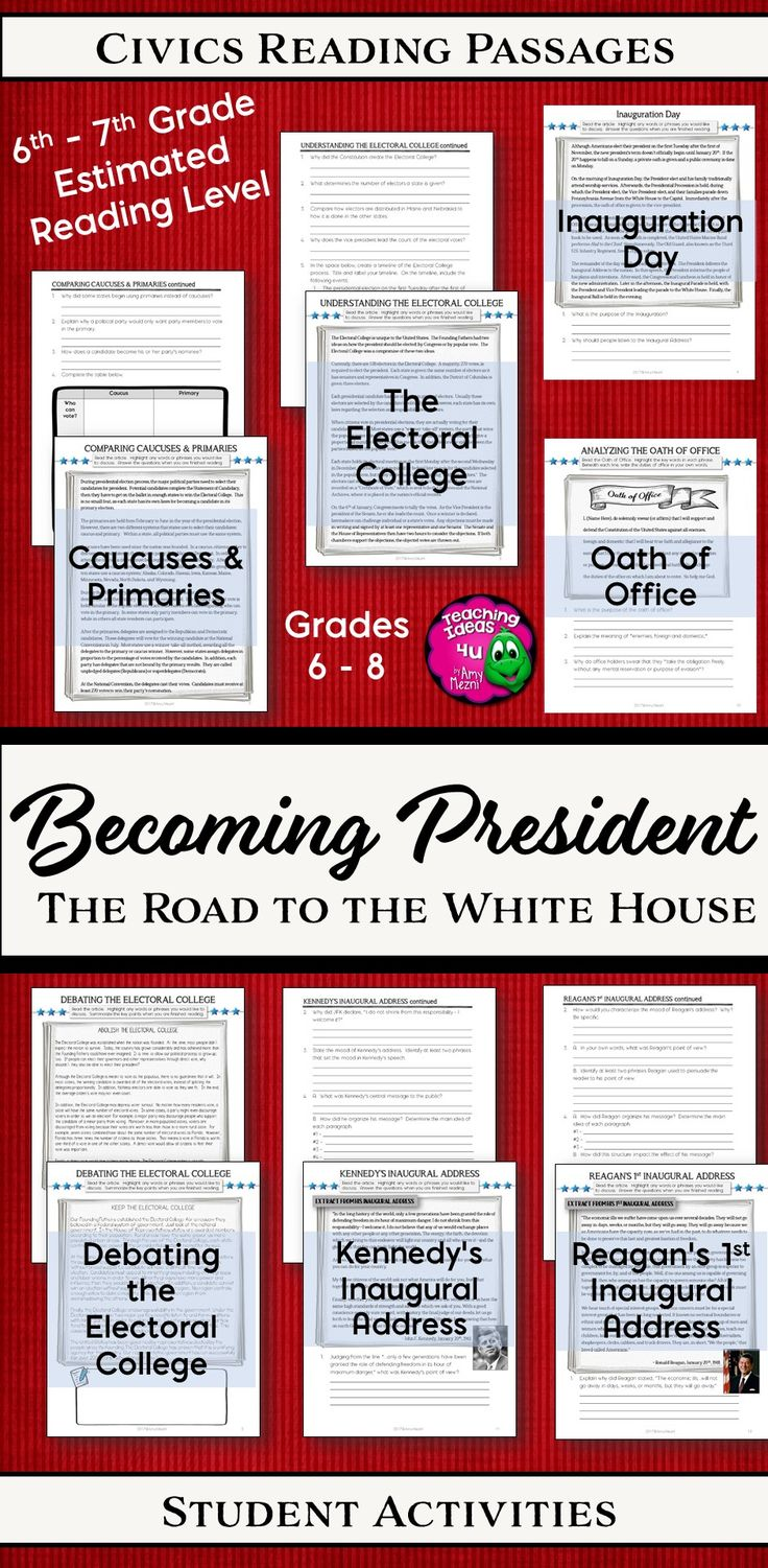 Civics Teachers - Do you need reading passages for U.S. government? This resources includes texts for teaching the Electoral College, Caucuses & Primaries, Inauguration Day, and the Oath of Office. Students can also learn about the Inaugural Address by studying and comparing both John F Kennedy's and Ronald Reagan's Innaugural Address. Also included is a timeline activity for the presidential election process, as well as arguments both for and against the Electoral College. #civics…