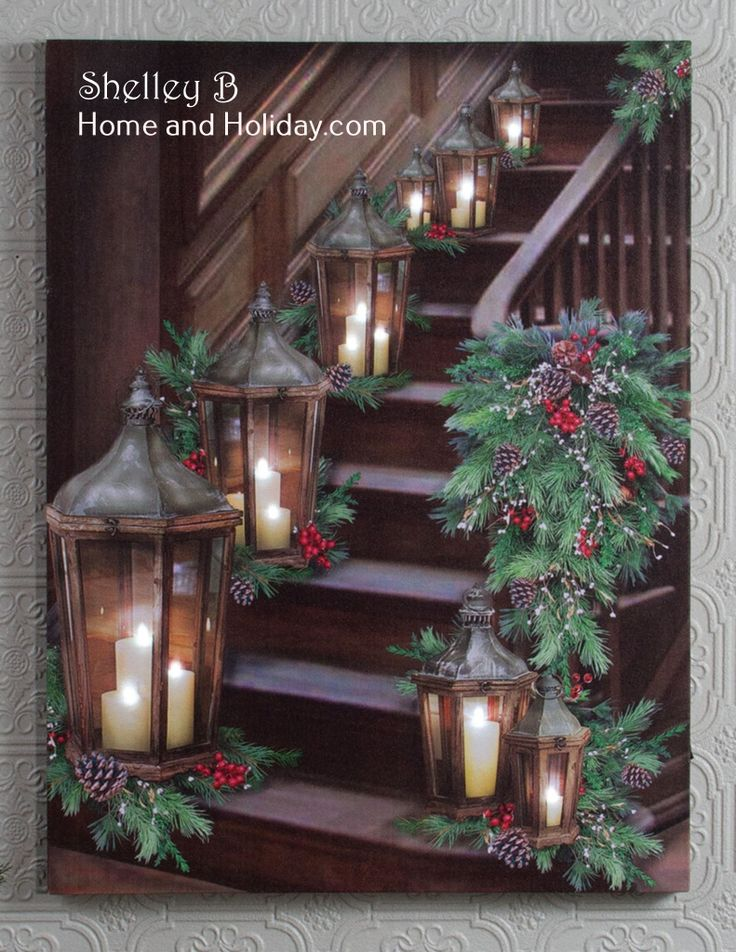 NEW lighted picture design, beautiful Christmas Stairway with Lanterns.  The candle flames light up and flicker.  There is an on/off switch with automatic 6 hour timer on the side of the canvas.  Lights will automatically come back on after 18 hours. We have 100s of lighted pictures, every gift occasion or season.  Shelley B Home and Holiday