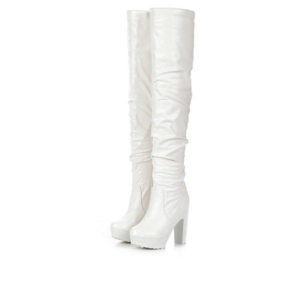 White Faux Leather Chunky Heel Thigh High Boots ($34) ❤ liked on Polyvore featuring shoes, boots, white, above-knee boots, above the knee boots, chunky heel platform boots, white boots and thick heel boots