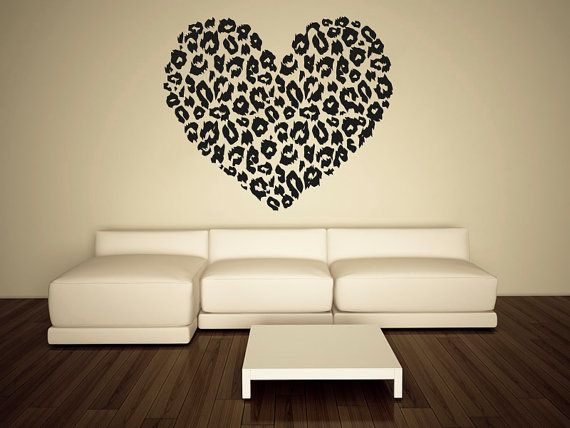 Wall Decal Vinyl Sticker Decals Art Decor Design Heart Leopard Print Love  Family Gift Girl Kids