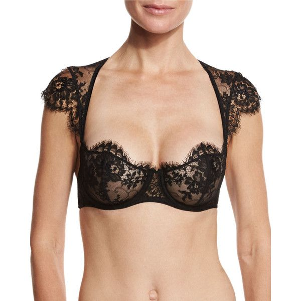 I.D. Sarrieri Jamais Le Premier Soir Cap-Sleeve Balconette Bra (410 AUD) ❤ liked on Polyvore featuring intimates, bras, black, balcony bra, lace underwire bra, cup bra, shelf bra and lace bra