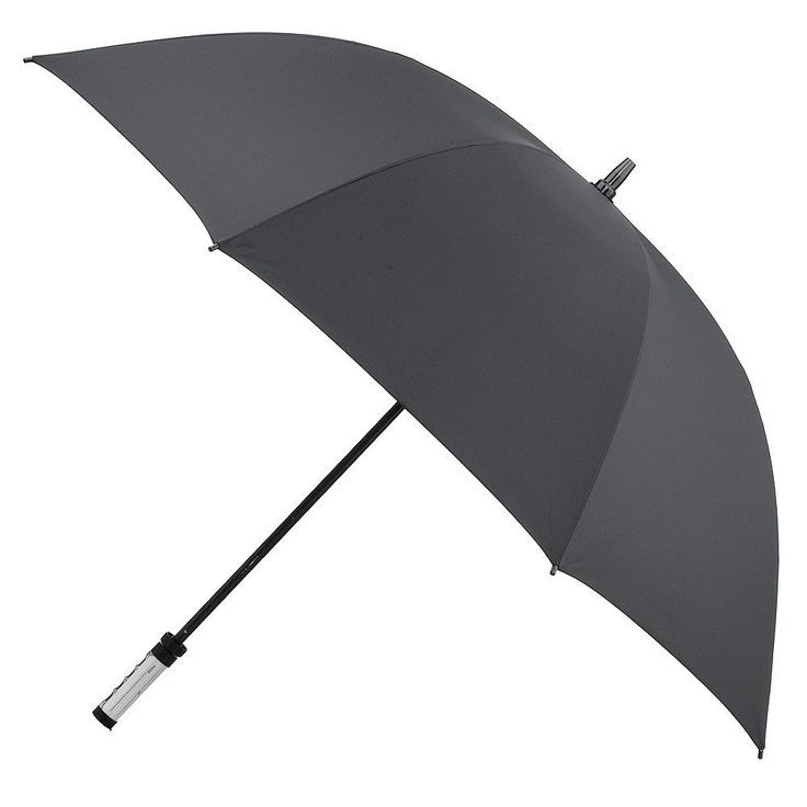 Manual Golf Umbrella with ID Handle - Black, Sld Blk
