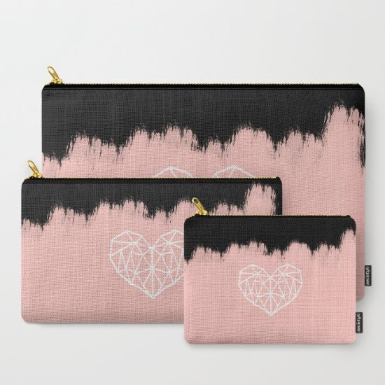 Geometric Heart on Pink Carry-All Pouch