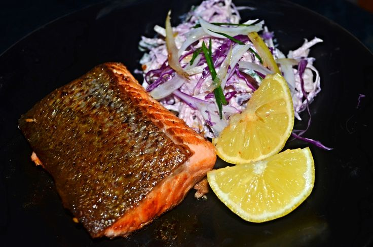 Crispy Salmon with Nashi and Fennel Slaw — Nidhi's Messy Kitchen
