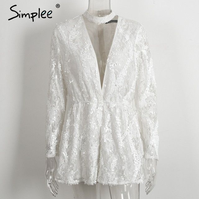 Simplee Halter white lace sequined jumpsuit romper Women sexy deep v neck long sleeve overalls Summer 2017 beach playsuit