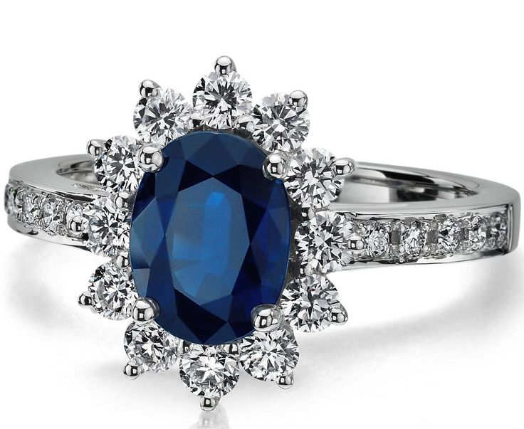 Oval Blue Sapphire Ring Diamond Halo in 14K White gold I have this too and it's even prettier in person!