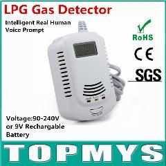 [ $150 OFF ] 100pcs Home security Safety Intelligent Real Human Voice Prompt LPG Gas Detector with LCD Display Smoke Detector
