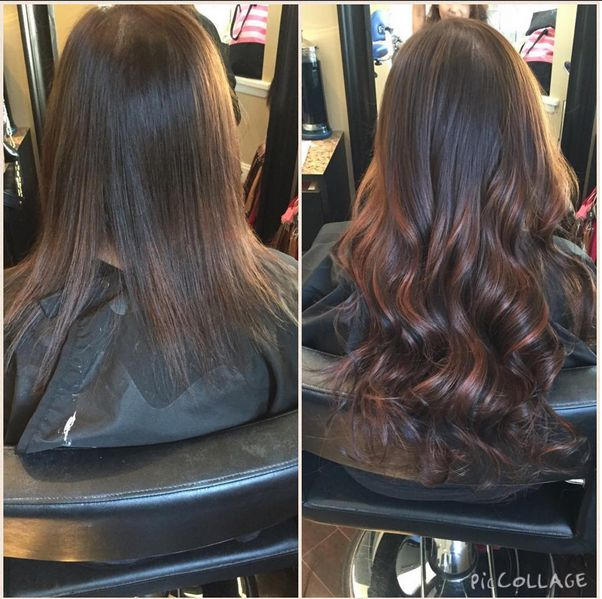 Donna Bella Hair extensions, color, and keratin by Nicole Vandermay.
