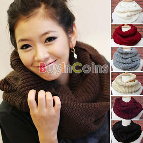 Winter Women Warm Infinity 2 Circle Cable Knit Cowl Neck Long Scarf Shawl 7 Colors -- BuyinCoins.com