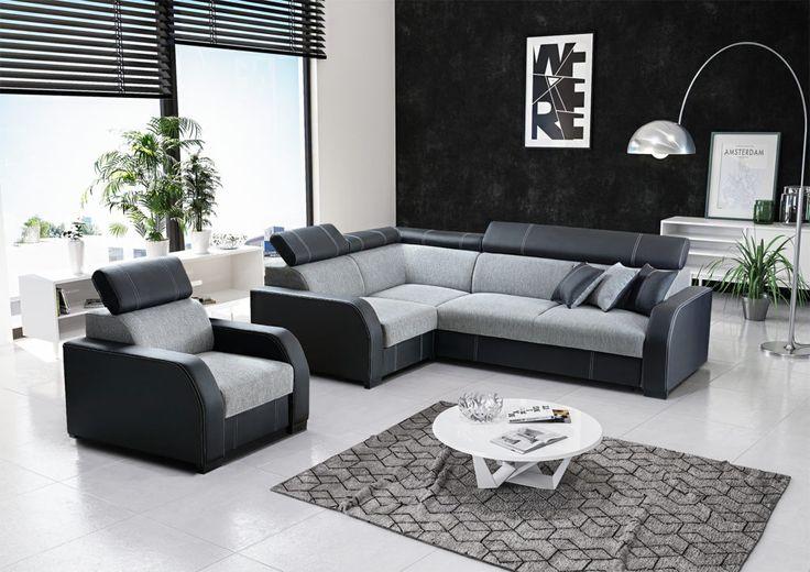 The set into the living room comprises from beautiful black - of grey furniture. Check how are comfortable:) Zestaw do salonu składa się z pięknych czarno - szarych mebli. Sprawdź, jakie są wygodne:)  #set #livingroom #mirjan24 #black #grey #comfortable #cornersofa #narożnik #salon