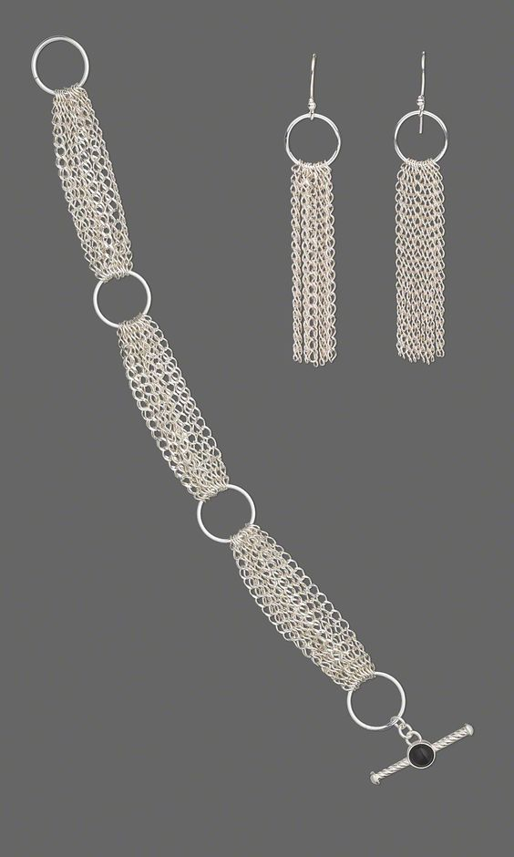 Jewelry Design – Bracelet and Earring Set with Sterling Silver Chain and Jumprin