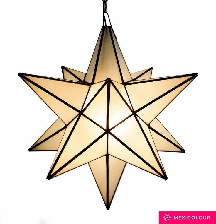 "$85 16"" Moravian Star Lamp Frosted Glass Handcrafted ..."