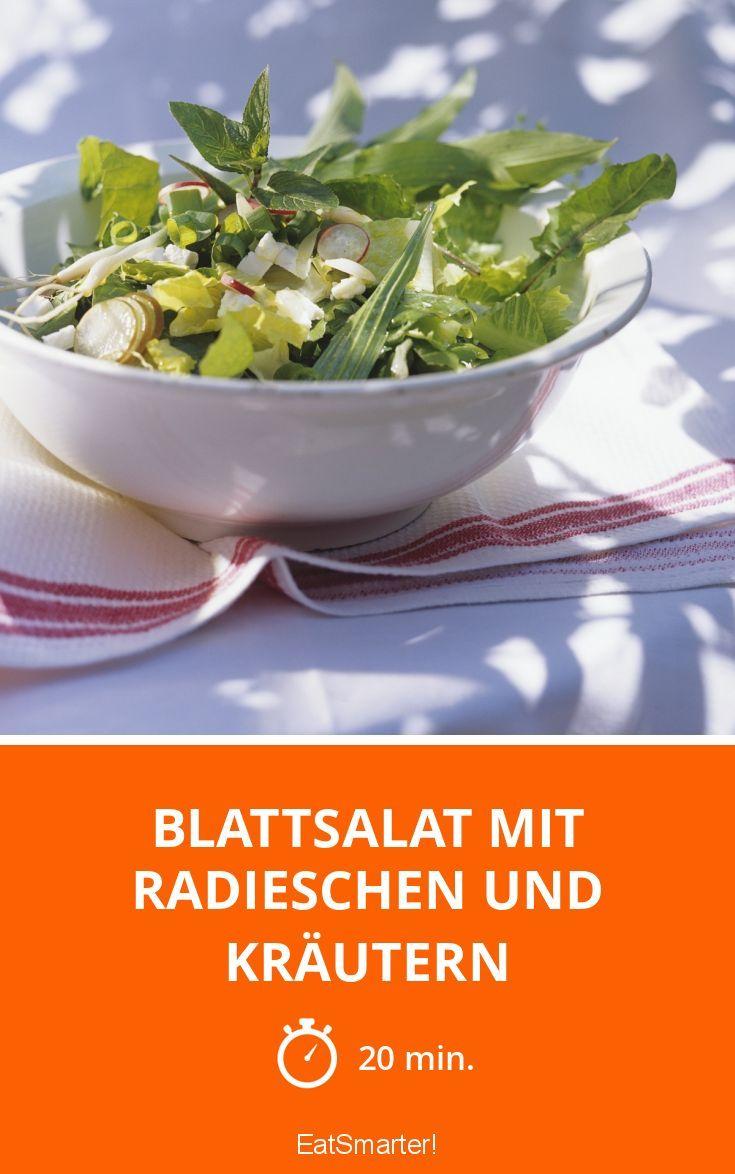Blattsalat mit Radieschen und Kräutern