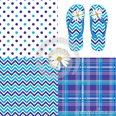 Blueberry pattern pack vector illustration drawing with chevron, polka dot, plaid and flip flop daisy flower prints.