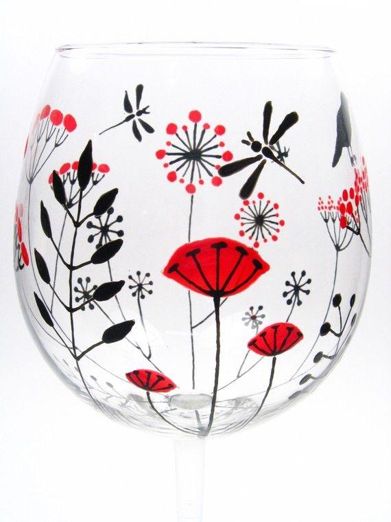 Hand Painted Wine Glasses Retro Botanicals Bird Set by decouverre, $120.00 @ Kayla Kelley